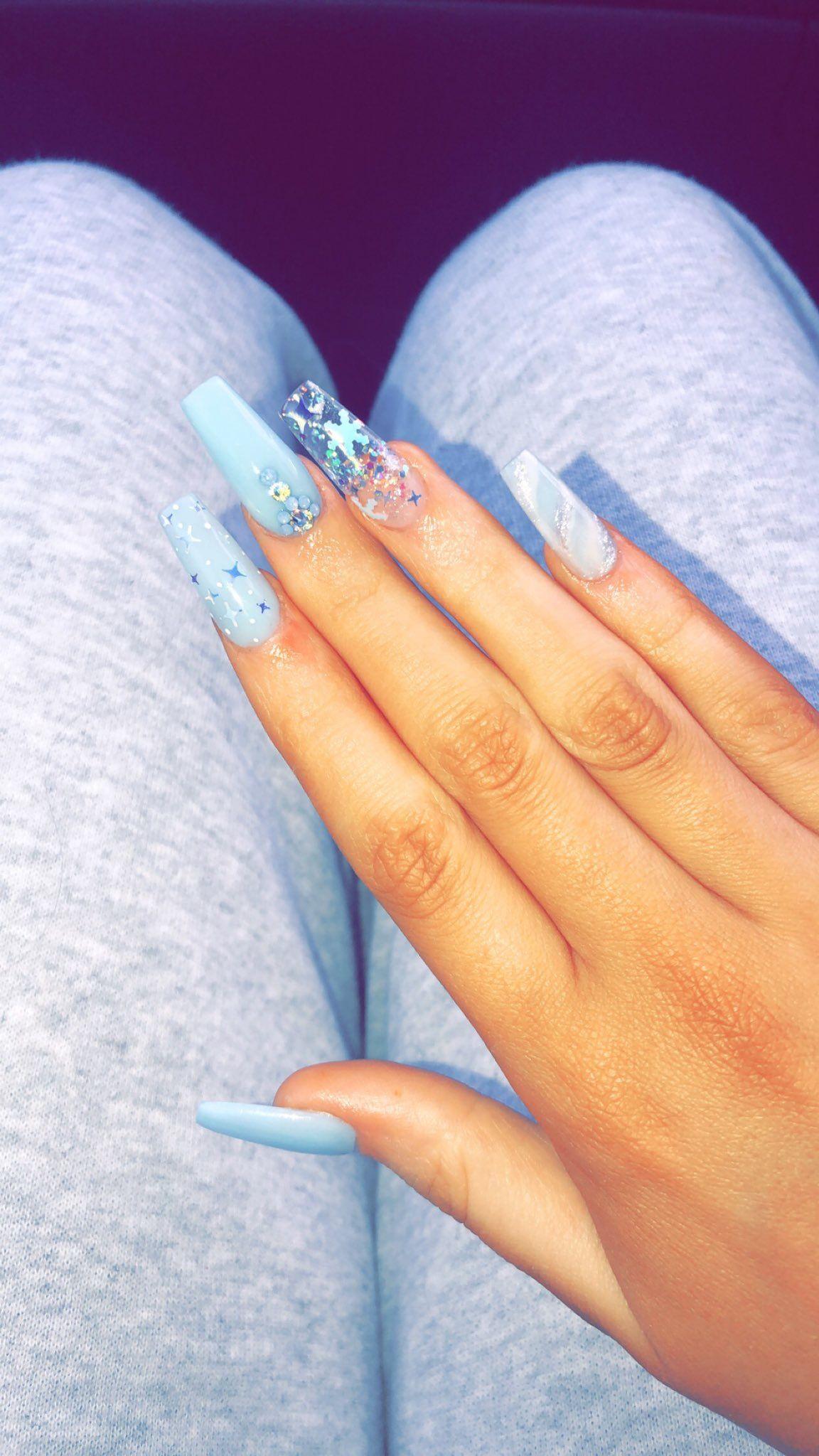 Pin By Princess Diana On Makeup Hair Beauty Blue Glitter Nails Blue Acrylic Nails Light Blue Nails