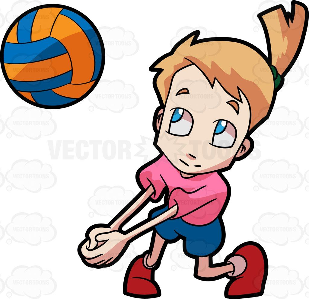 A Girl Playing Volleyball Boys Playing Cartoon Clip Art Volleyball