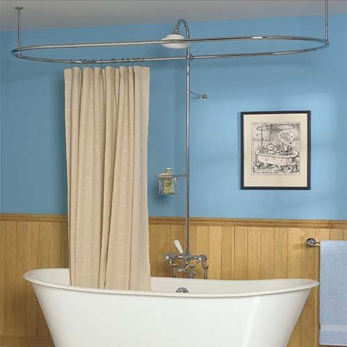 Oval Shower Curtain Rod Clawfoot Bathtub Victorian Style