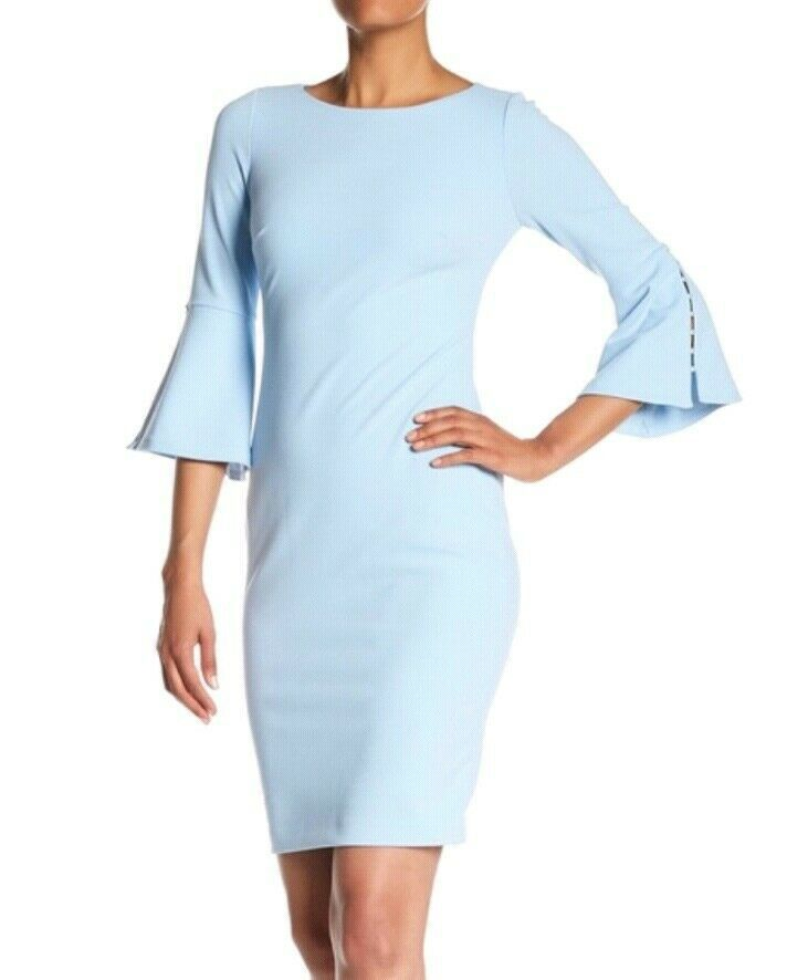 134 Calvin Klein Light Blue 3 4 Pearl Trim Bell Sleeve Dress Sz 6 Fashion Clothing Shoes Acce Blue Bell Sleeve Dress Womens Sheath Dress Bell Sleeve Dress