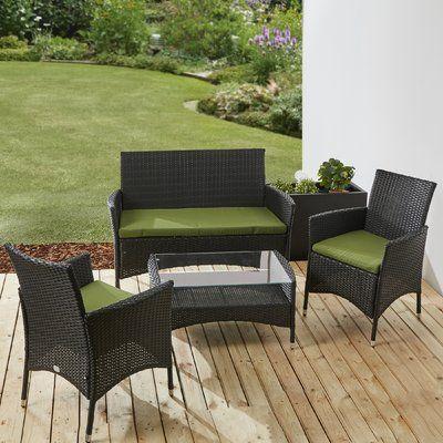 4-Sitzer Lounge Set aus Polyrattan mit Polster Jetzt bestellen unter