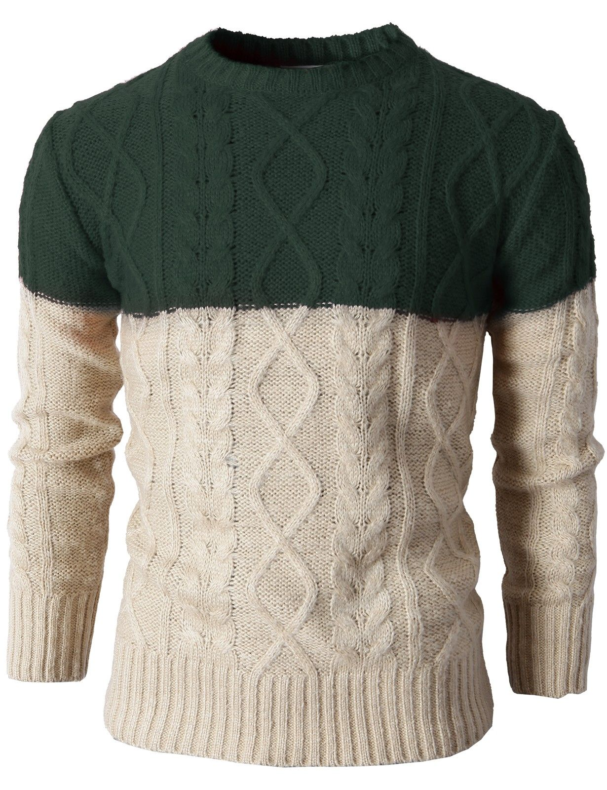 Mens Casual Slim Fit Kinted Pullover Sweater With Two Tone Color ...