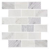 Hampton Carrara Tumbled Amalfi Marble Mosaic Tile 2 X 4