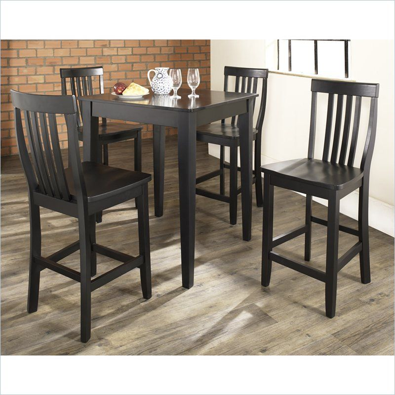 Crosley Furniture 5 Piece Pub Dining Set with Tapered Leg and School House Stools in Black & Crosley Furniture 5 Piece Pub Set with School House Stools in Black ...