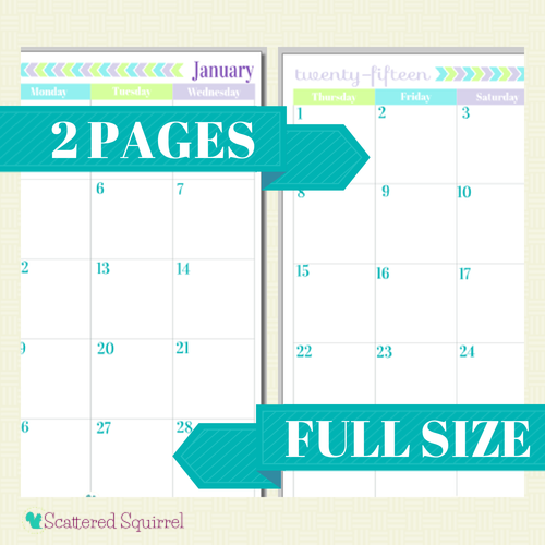 free printable 2015 full size calendar with 2 pages per month
