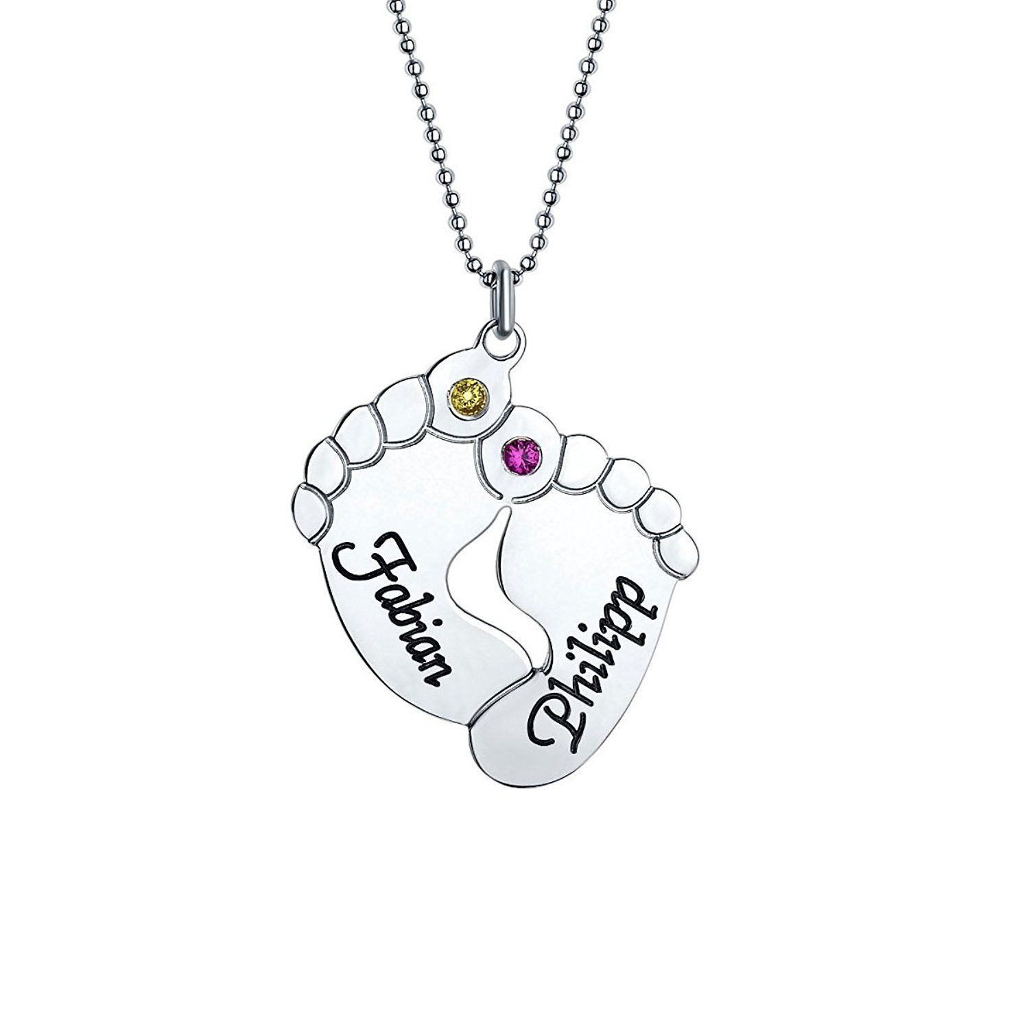 Mother Jewellery - Engraved Baby Feet Pendant Necklace with Personalised Birthstone - Custom Made with Any Name! LBruSswteQ