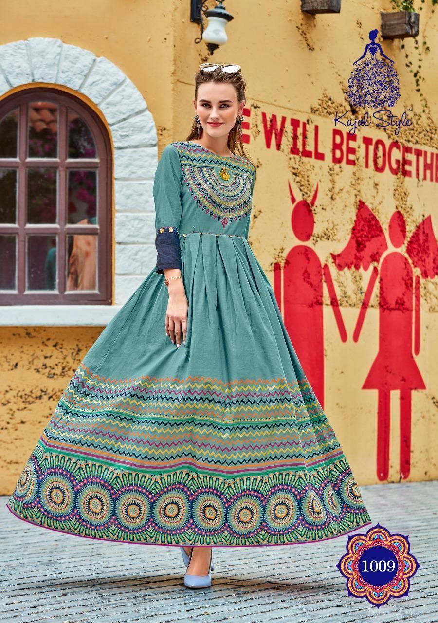 8723587fa2 Kajal Style Fashion Loreal Vol 1 Heavy Designer Printed Rayon with Work  Long Flair Readymade Kurtis