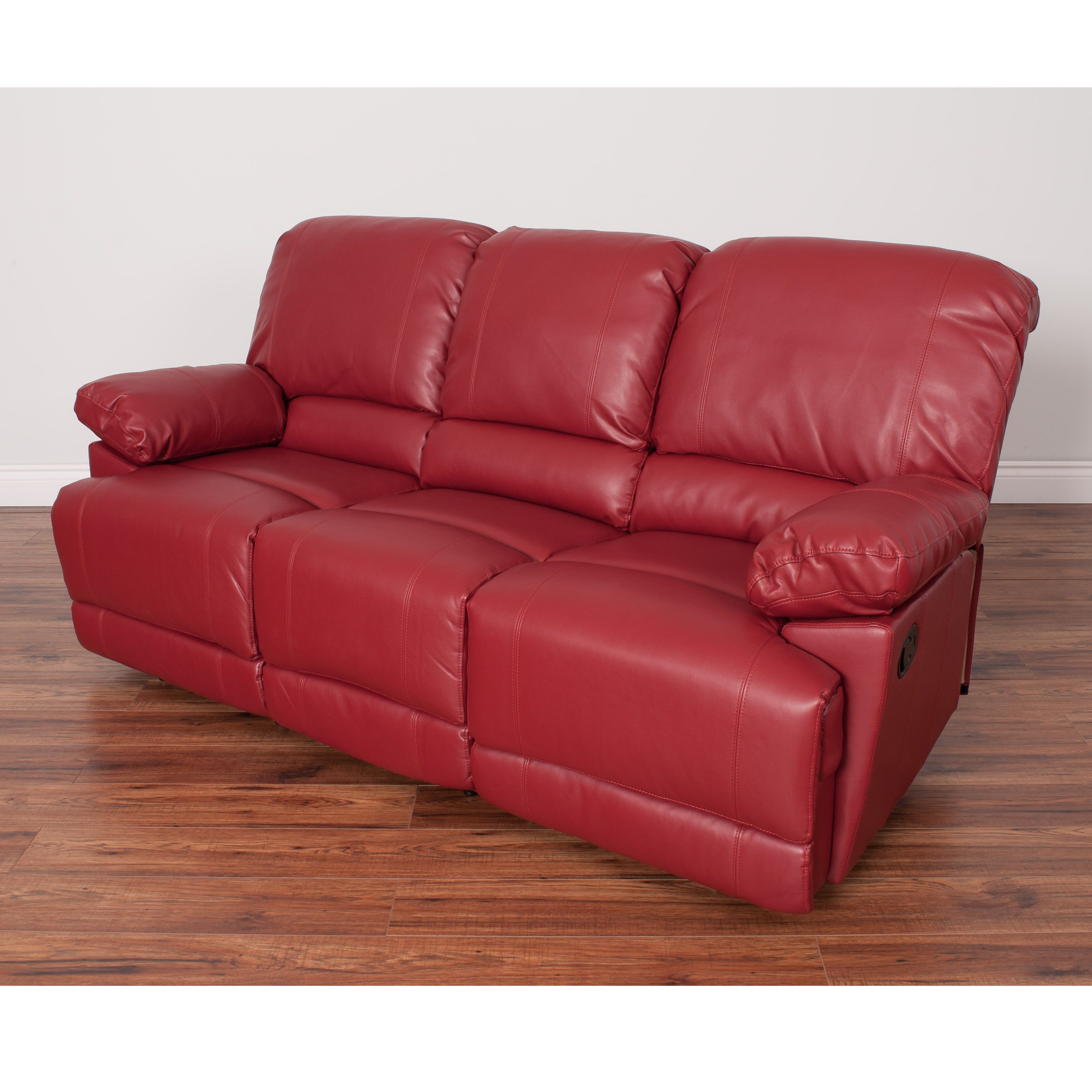 Sofa Tables CorLiving Lea Bonded Leather Reclining Sofa Red