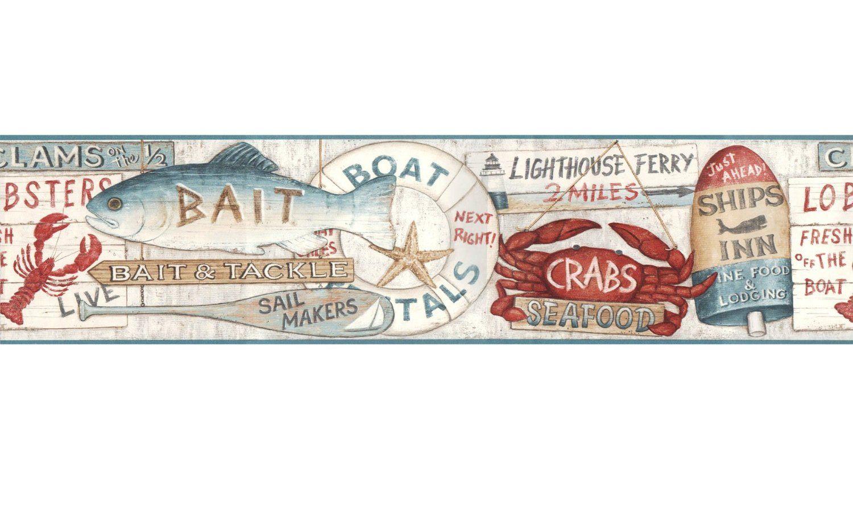 Coastal Nautical Signs Prepasted Wall Border Roll Wallpaper