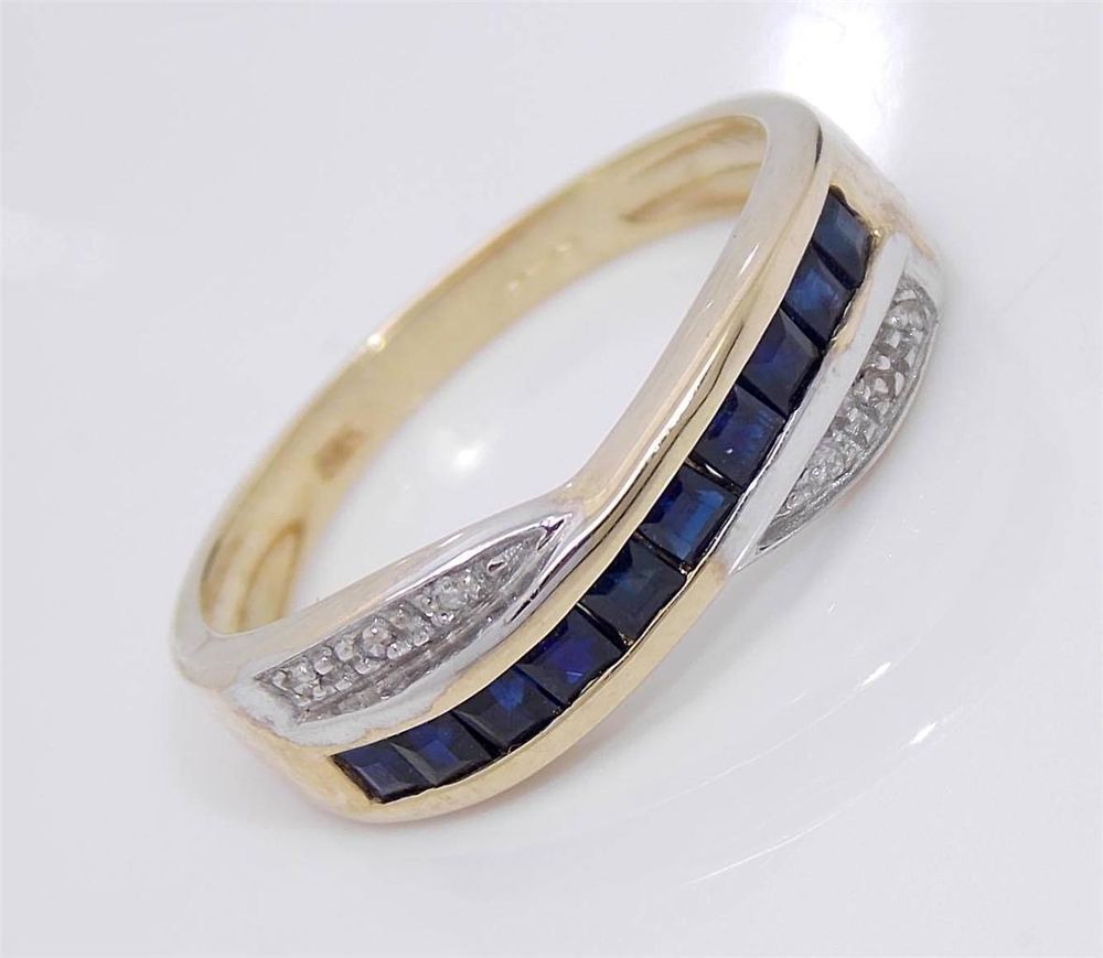 Vintage Style 9ct Gold Diamond Sapphire Ring Hallmarked