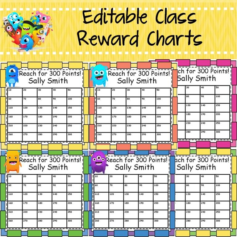 Back to school behavior management editable class reward charts - incentive chart template