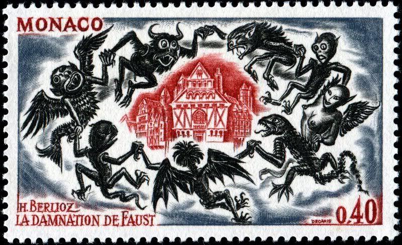 Monaco 1969 Obra La Condenacion De Fausto De Hector Berlioz Danza De Los Sprites Escena De La Obra Stamp Printing Postage Stamp Art Stamp