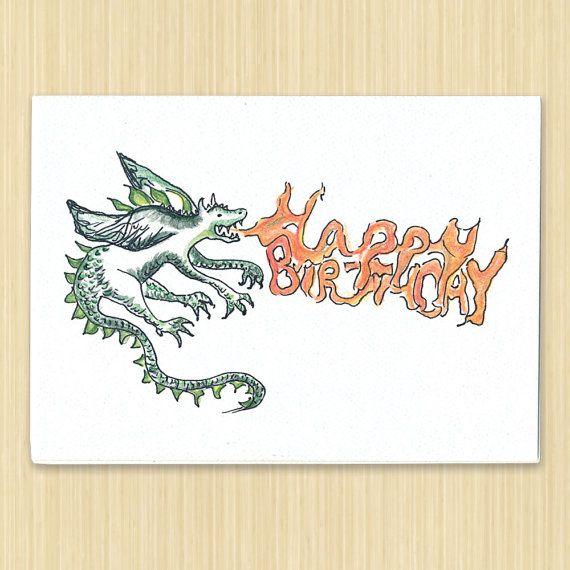 Dragon Birthday Card Fantasy Birthday Card Boy Birthday Card Hand