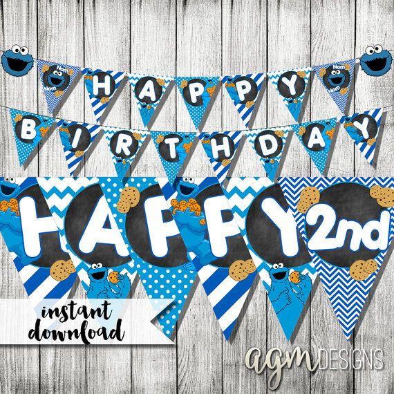 Cookie Monster Banner Cookie Monster door AGMPrintableDesigns