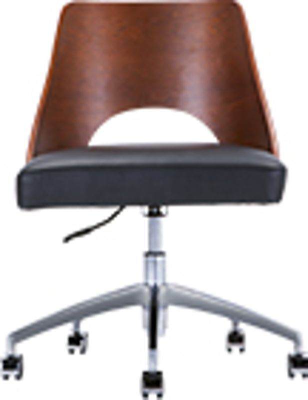 Hailey Swivel Office Chair, Walnut and Black