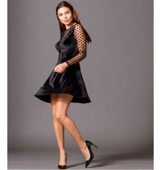 e4be05f5e681 Βελούδινο Κοντό Κλος Φόρεμα με Τούλι Πουά Ντεκολτέ - Μαύρο ...