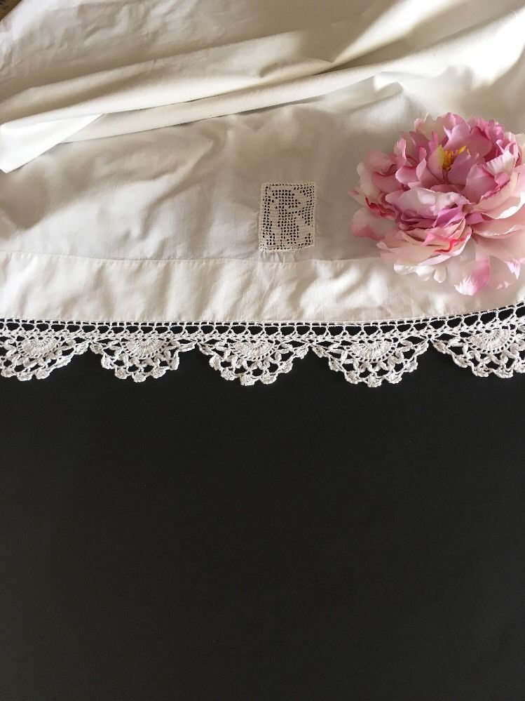Vintage White Pillowcase Pair With Crocheted Lace