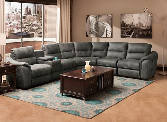 Rockland 6 Pc Microfiber Power Reclining Sectional Sofa W