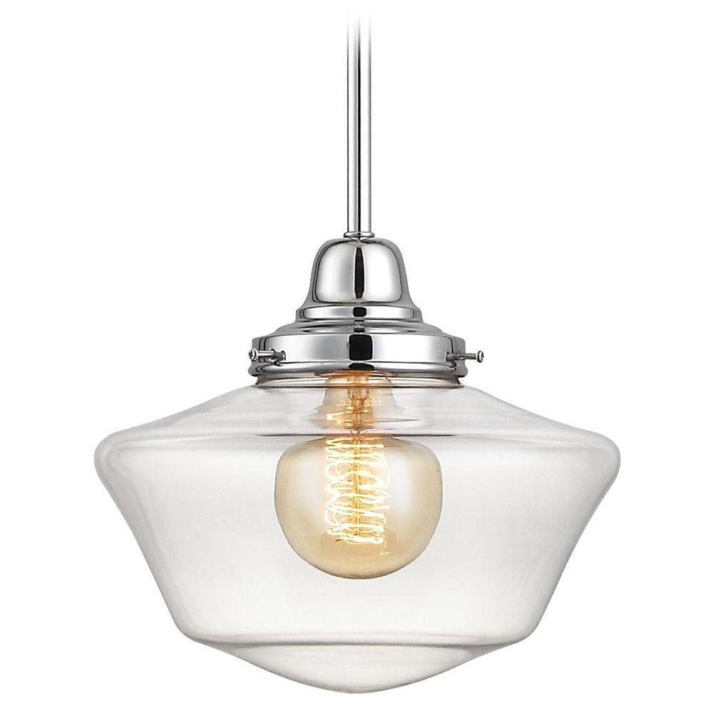 Inch chrome clear glass schoolhouse minipendant light