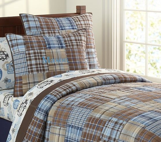 Pottery Barn Kids Multi Colors Blue Green Brown Madras Plaid Twin Duvet Cover