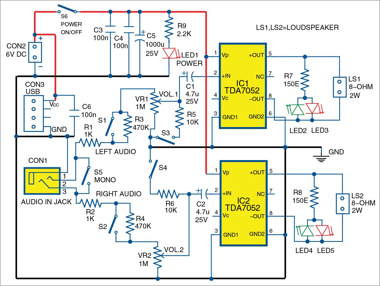 Intercom Circuit Schematic Devreler T Circuits With Transistors Simple Collection Tda7052 Is A 12w Mono Audio Power Amplifier Suitable For Stereo It Has Diagram Of Laser Alarm Using Transistor By Robotics Love