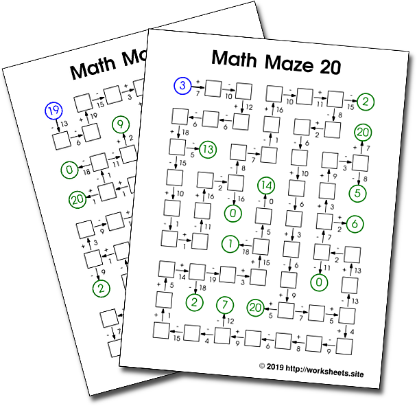 Addition and Subtraction Math Mazes. Free Printable Math