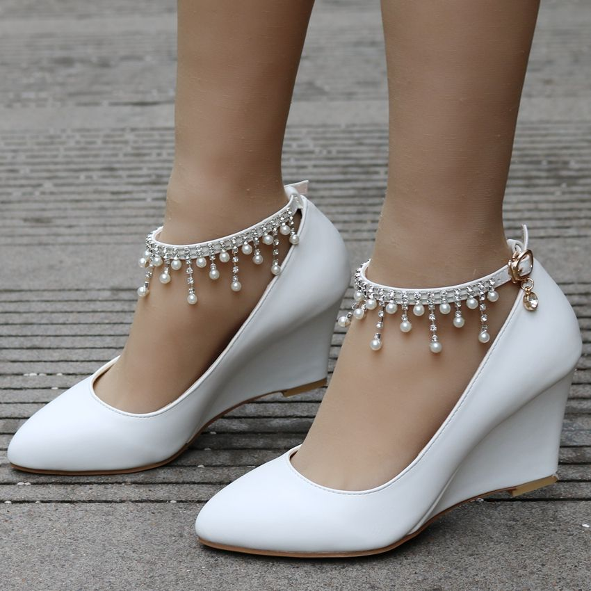 Crystal queen women shoes wedge high heels pointed toe