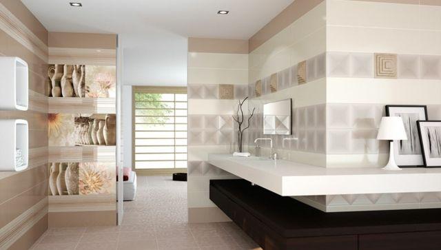 beige Wand Muster Fliesen modern Fotos Natur | Bathroom ~ ECOstyle ...