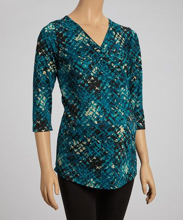 Look at this #zulilyfind! Teal & Black Abstract Maternity & Nursing Surplice Top by CT Maternity #zulilyfinds