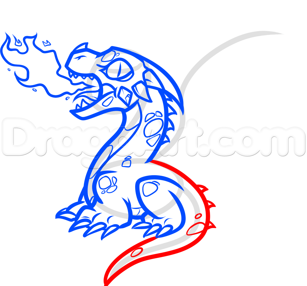 how to draw a baby fire breathing dragon step 8   baby dragon how to ...