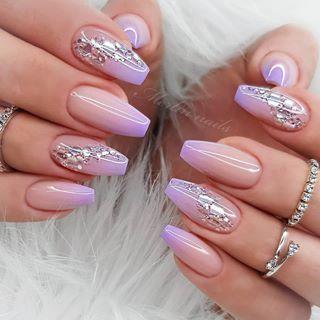 merlin nails merli in 2020  purple fade nails nail