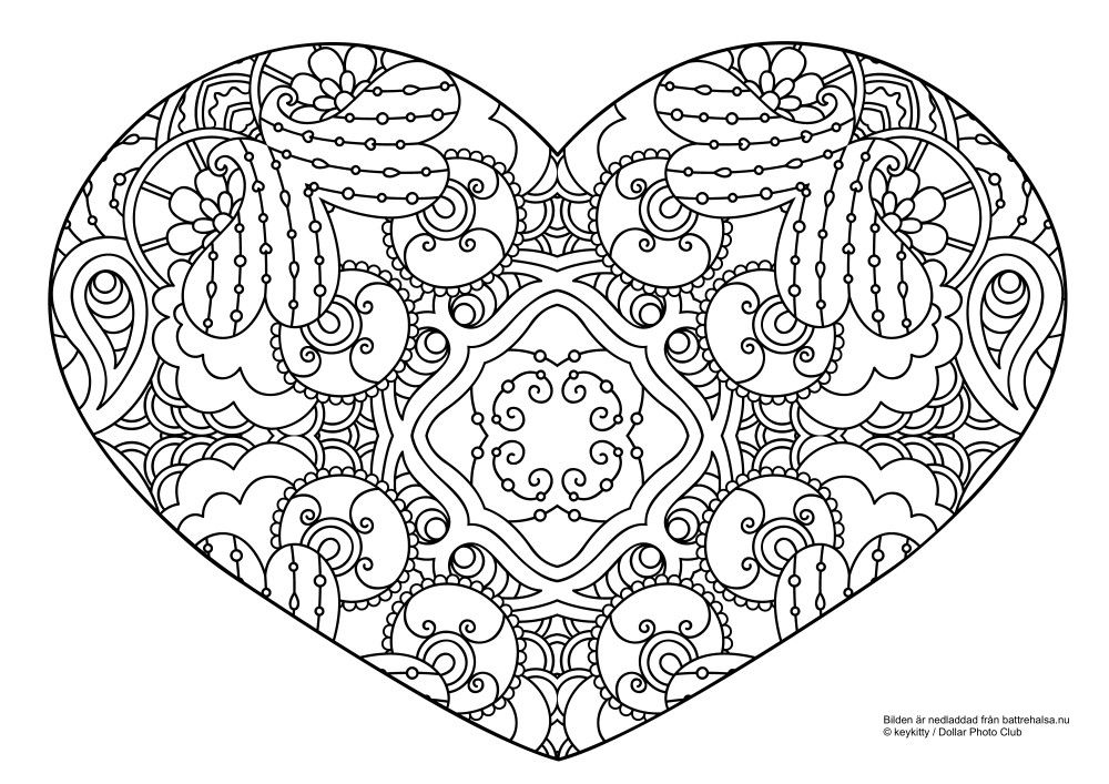 Gratis m larbild f r vuxna f rgl gg det snirkliga hj rtat coloriage coeur colouring heart - Mandala de coeur ...