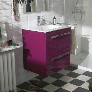 Meuble de salle de bains Néo, violet figue n°3 Pop Pinterest - leroy merlin meuble salle de bain neo