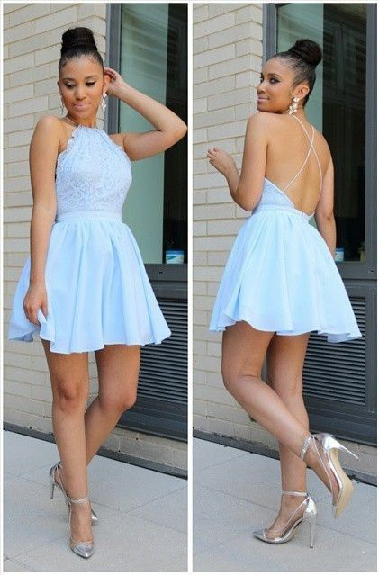2019 Sky Blue Homecoming Dresses Halter Neck Backless Straps Graduation Dresses #shortbacklessdress