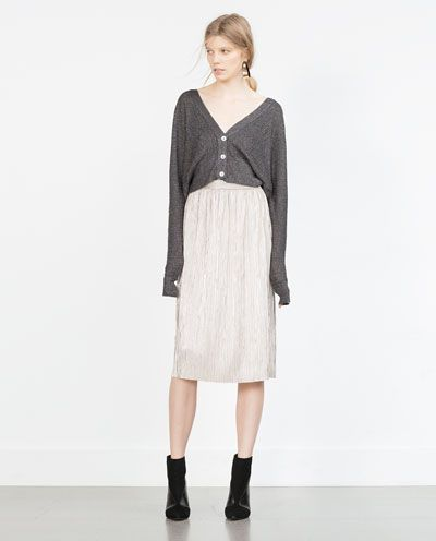 Image 1 of SILVER PLEATED SKIRT from Zara