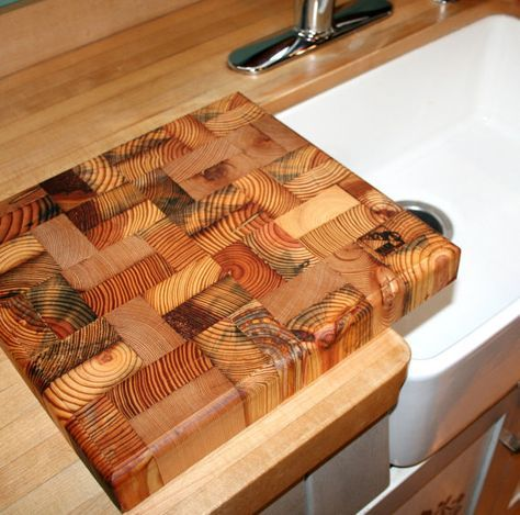 End Grain Butcher Block Reclaimed Wood Cutting By DetroitExporting, $59.95