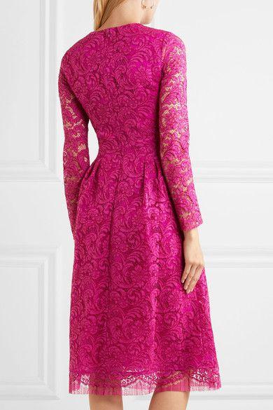 Adam Lippes Woman Pleated Cotton-blend Corded Lace Midi Dress Fuchsia Size 4 Adam Lippes vWKsGui3GX