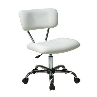 Office Star ST181-V11 Vista Office Chair by Office Star. $92.55. Fabric:White Vinyl Avenue Six Vista Task Chair   Vinyl padded seat and back  One touch pneumatic seat height adjustment  360 swivel  Chrome finish frame and base  Dual wheel carpet casters for mobility  Dimensions: 19.25W x 25.75Back-to-Frontx 29.5-33H   Seat: 20.5W x 17Back-to-Front  Back: 20W x 9H x 1.5Thick