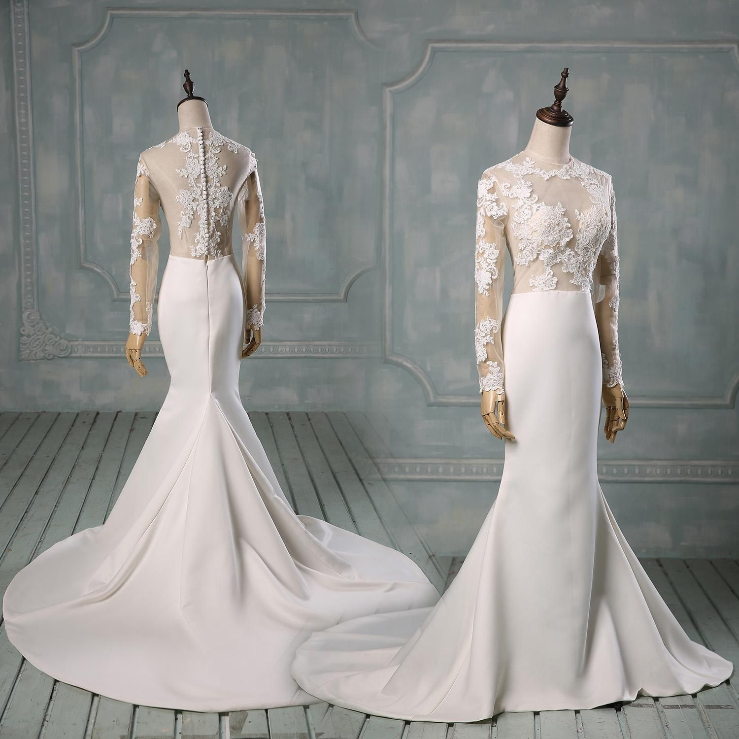 real photos long sleeve wedding dresses with high neck sheer