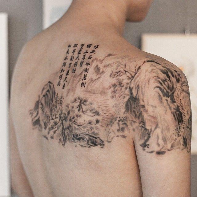 동양화와 한시 타투 #타투이스트리버  #동양화 #그림 #타투 #oriental #painting #chinesepoem #tattoo #ink #graffittoo #그라피투