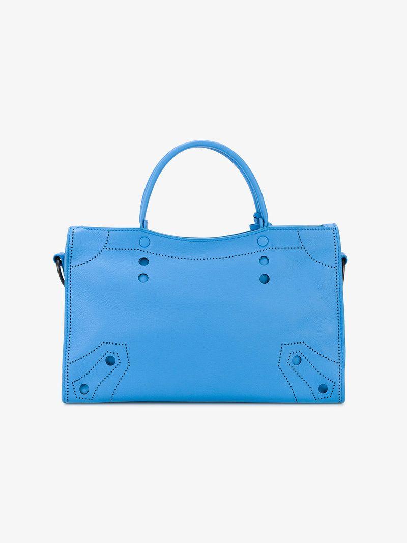 65937ec14c4 Small Blue Leather Blackout City bag | Bags | Bags, City bag, Blue