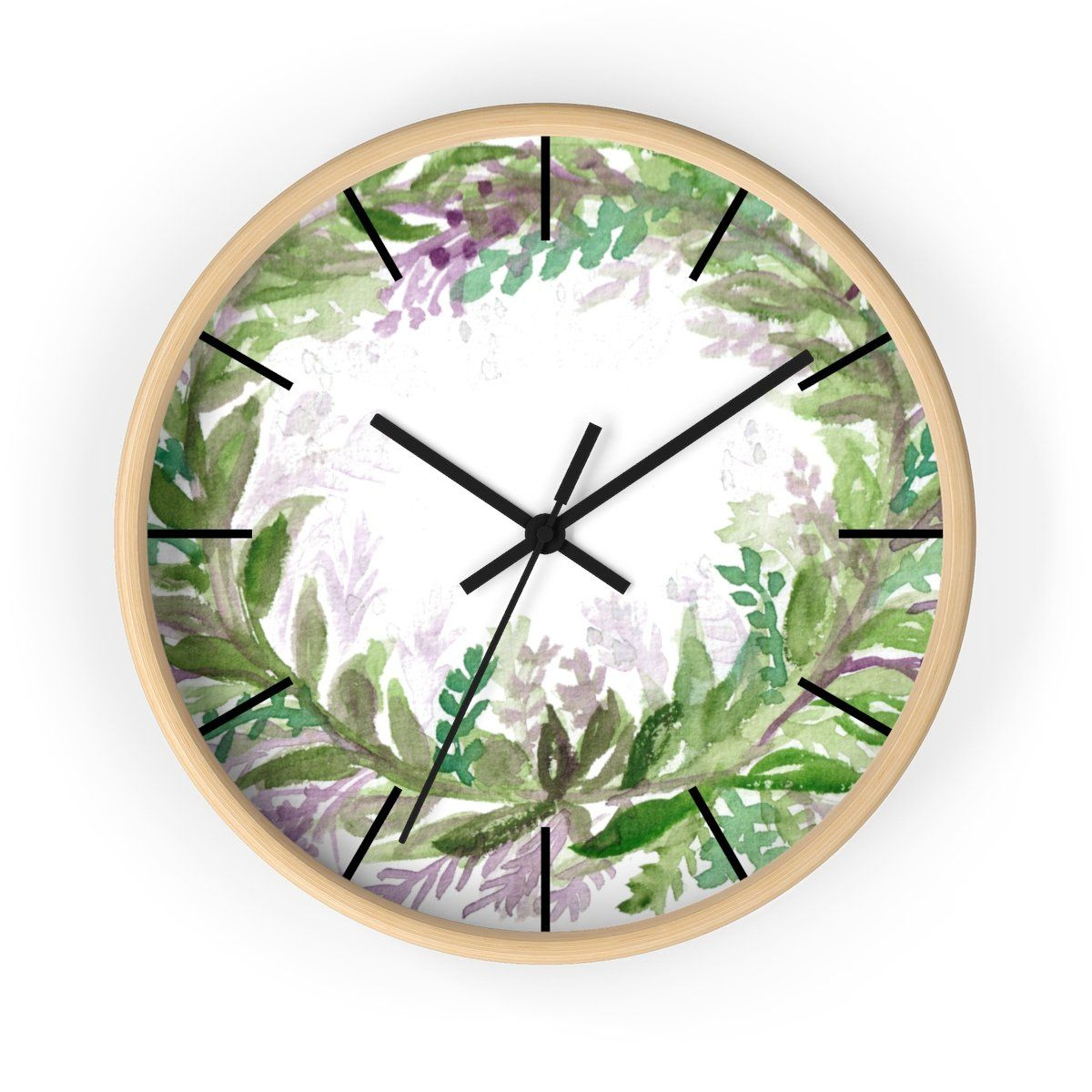French Lavender Purple Floral Rose Print 10 Inch Diameter Wall Clock Made In Usa How To Make Wall Clock Wall Clock Purple Floral