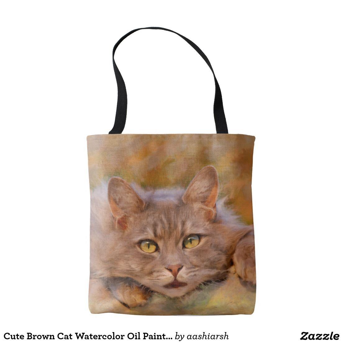 Cute Brown Cat Watercolor Oil Painting Art Tote Bag Kitten Kitty Pet Flowers Tote Tote Bag Colorful Tote Bags