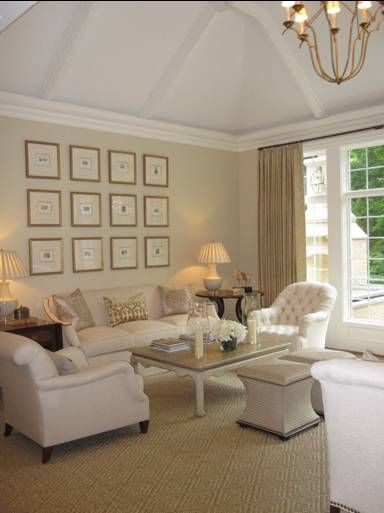 Living room colors cream fleece and the trim ceiling are white dove both by benjamin moore - Living room with cream walls ...