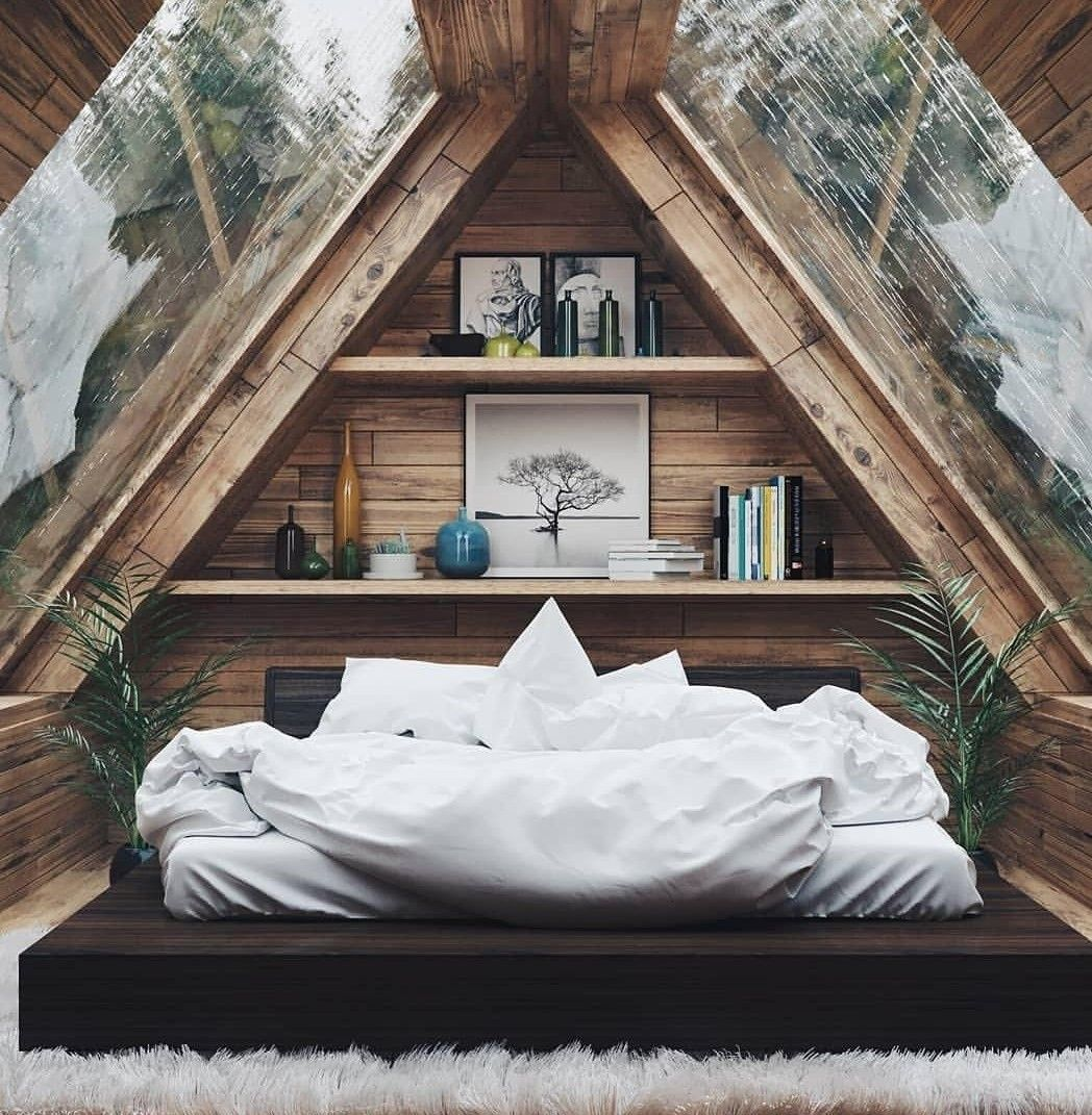 This Is So Legit To Be Here Reading A Book Chillin With Man S Best Friend And Absorb The Peaceful Soun A Frame House Attic Bedroom Small Attic Bedroom Designs