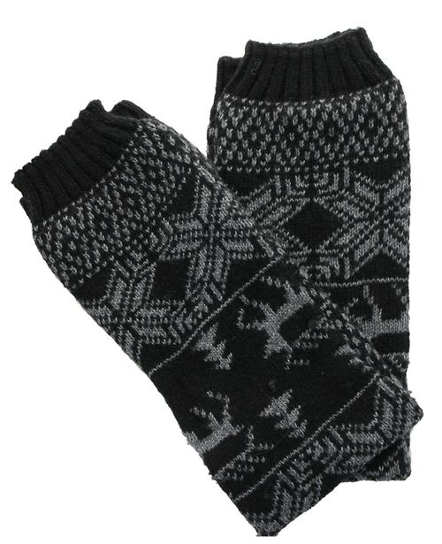 Fair Isle Knitted Leg Warmer in Black by Hana | Products ...