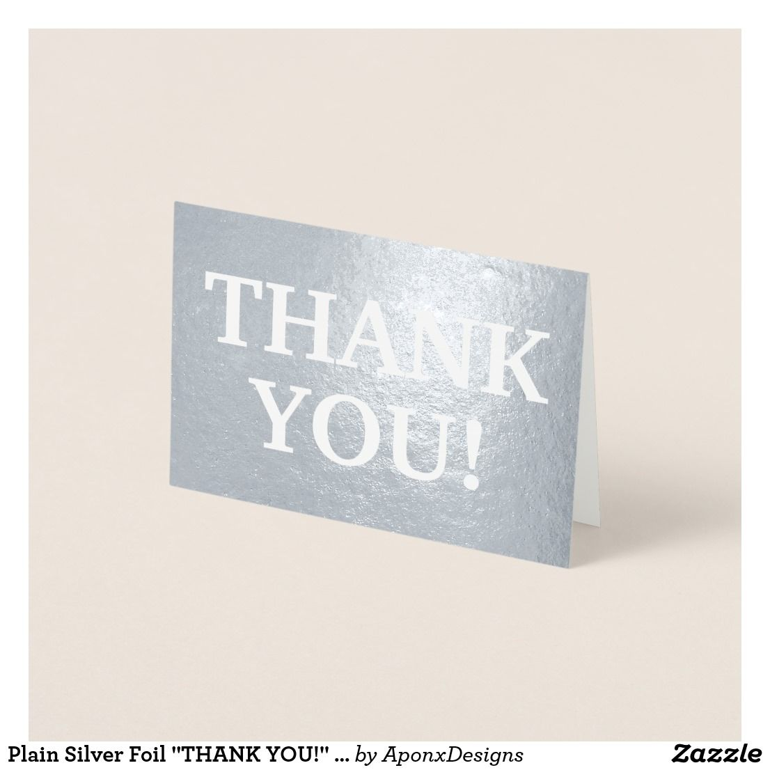 Plain Silver Foil Thank You Card Thank You Greeting Cards