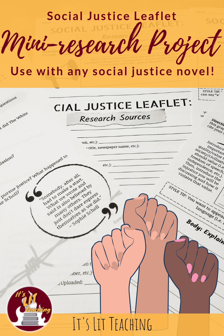 Social Justice Leaflet Mini Research Project Research Projects Social Studies Middle School Social Justice