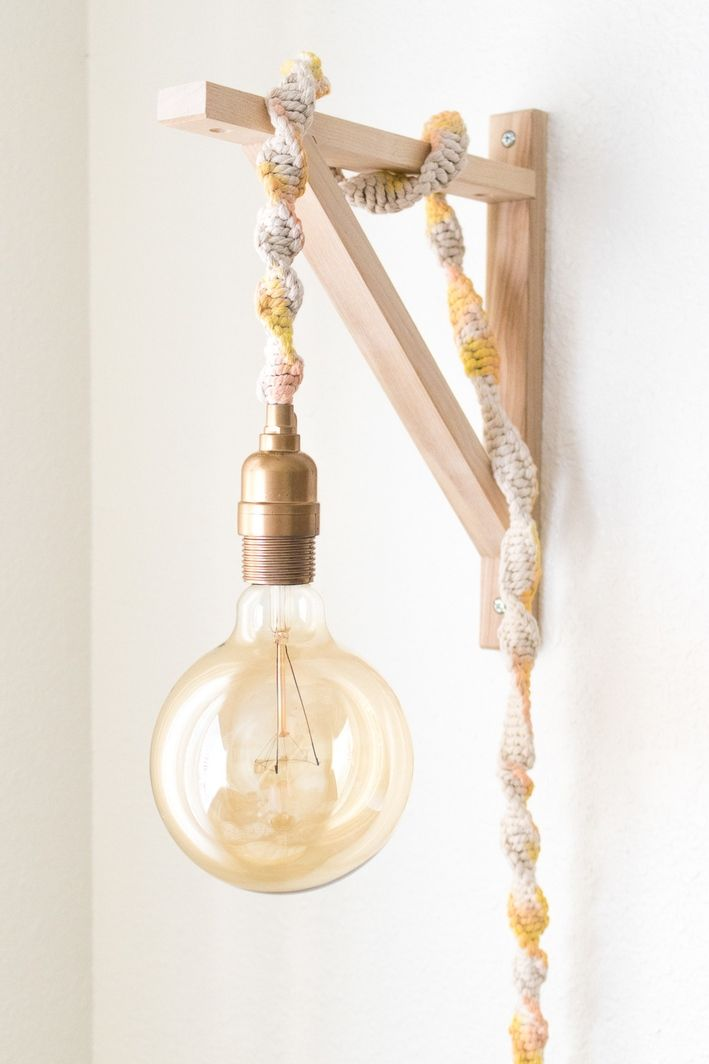 Make a Macrame Wrapped Wall Light in Less than an Hour