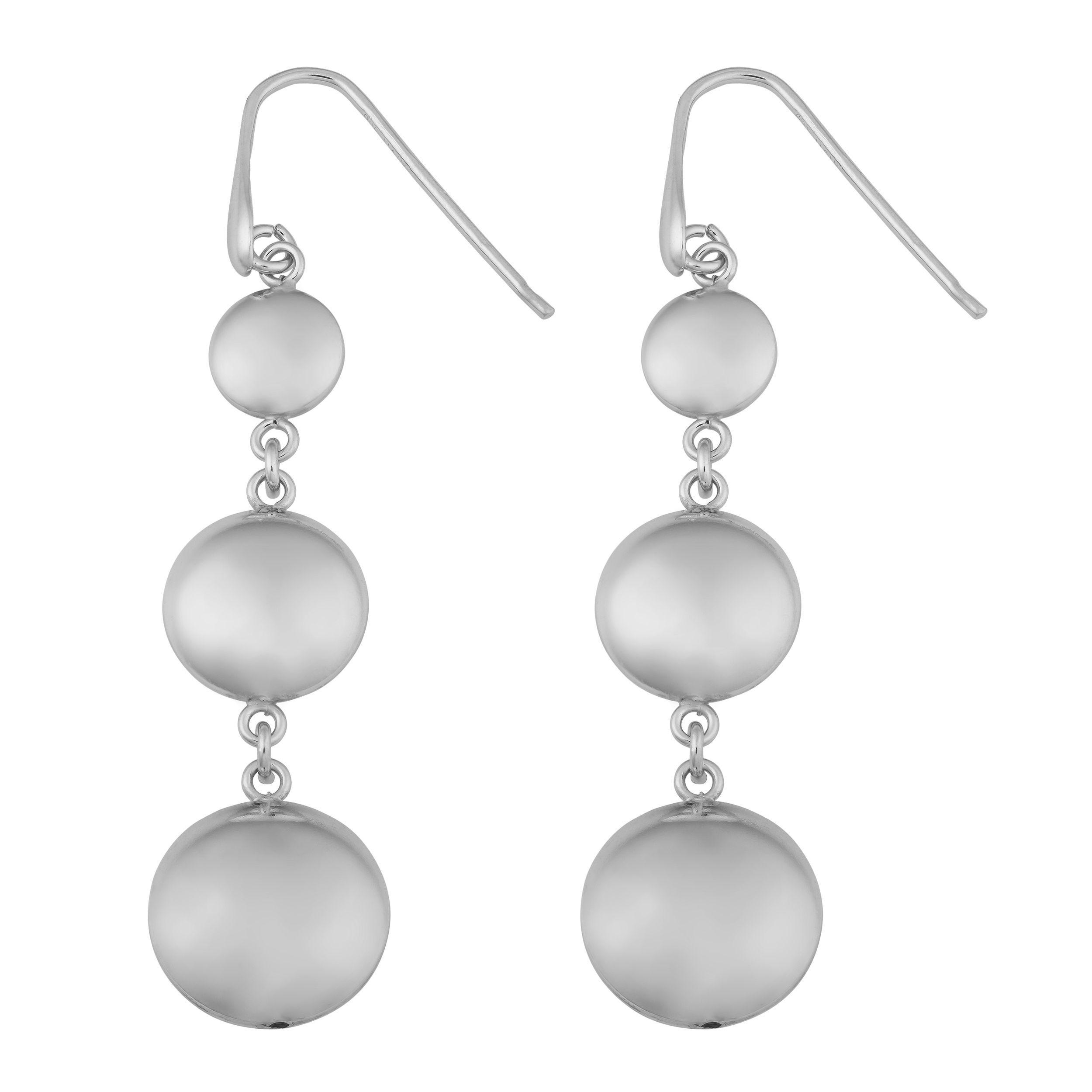 Argento Italia Rhodium Plated Sterling Graduated Puff Disc Dangle Earrings